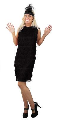 PER KLEID 20iger 30iger KOSTÜM CHARLESTON  VERKLEIDUNG  (Schwarzes Flapper-kleid Kostüm)