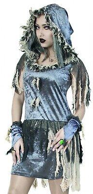 Zombie Braut Kostüm graues Kleid Lumpenhexe Zombiekostüm Fasching - Silber Hexe Kostüm