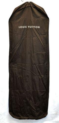 Auth LOUIS VUITTON Extra Long Brown Cotton Cloth Full Zipper Cover Garment Bag