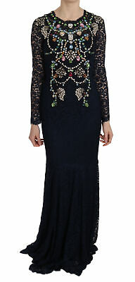 DOLCE & GABBANA Dress Blue Crystal Floral Lace Long Gown IT44 /US10/L RRP $18000