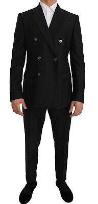 NEW $2700 DOLCE & GABBANA Suit Gray Wool Silk Double Breasted Slim Fit IT48/US38