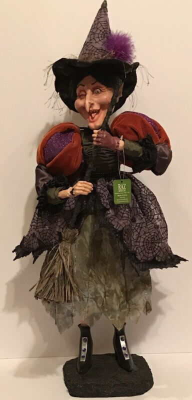 """RAZ Imports """"RETIRED"""" Halloween Old Winking Witch Stands 25 1/2"""" Tall Brand NEW"""