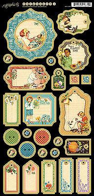 Graphic45 CHILDREN'S HOUR #1 Journaling Chipboard scrapbooking (27) PCS VINTAGE