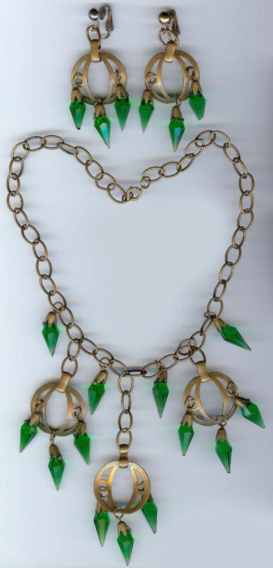 VINTAGE CZECH BOHEMIAN EMERALD GREEN GLASS DANGLES BRASS NECKLACE EARRINGS SET
