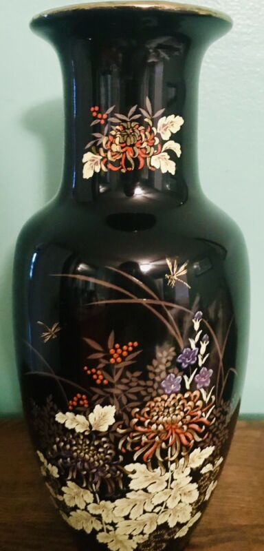 "IMPERIAL DYNASTY, MANN 10"" BLACK VASE W/ BEAUTIFUL FLORAL PATTERN & DRAGON FLIES"