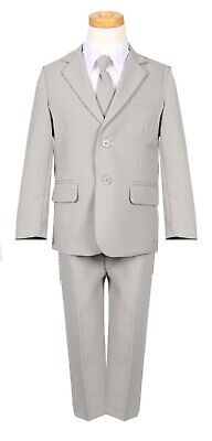 Boys slim fit suit silver light grey formal wedding set long tie vest pant