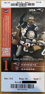 September 21 2014 New England Patriots Vs. Oakland Raiders Ticket