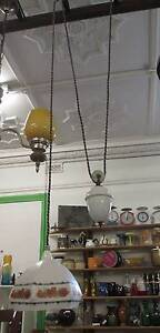 Art Deco Milk Glass Light Fitting Ceiling Pendent Light Pulley Queenstown Port Adelaide Area Preview