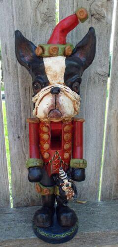 New Folk Art Boston Terrier Dog Nutcracker Soldier Vintage Style
