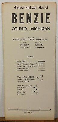 1966 Benzie County Michigan vintage road map Crystal Platte Lake b