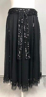 Monsoon Black Net & Sequin Bead Skirt Tinker Size 12 BNWT Goth Grunge Halloween