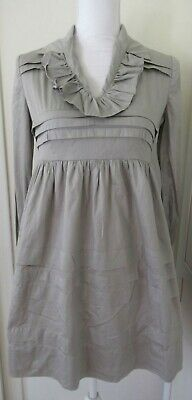 Hoss Intropia Anthropologie 100% Cotton Tucks Gray Empire Dress 38 (6)