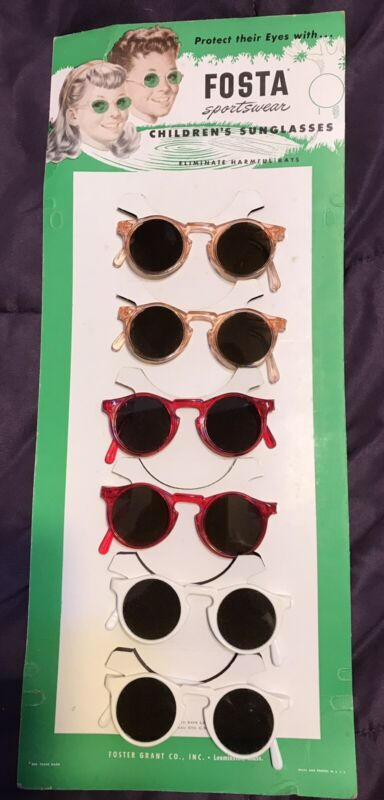 Amazing Vintage Foster Grant Fosta Childrens Sunglasses Display Card with 6 Pair