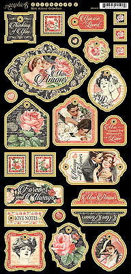 Graphic45 MON AMOUR #2 Decorative Chipboard  (26) PCS scrapbooking VINTAGE LOVE