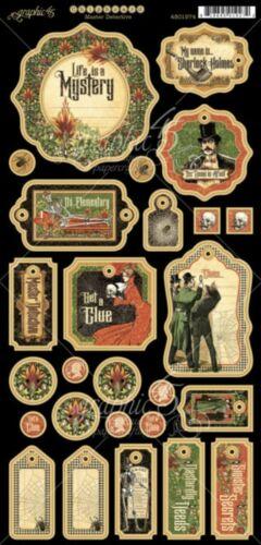 Graphic 45 G45 Master Detective Decorative Chipboard Vintage Sherlock Holmes