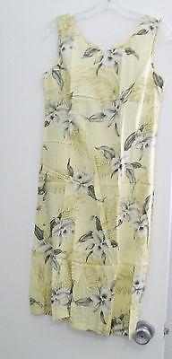 Milson by KY's Womens Hawaiian Yellow Orchid Rayon Tank Dress Sz S - NWOT