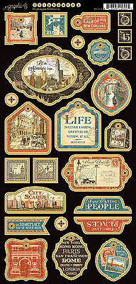 Graphic45 CITYSCAPES #2 Decorative Chipboard scrapbooking (26) PCS TRAVEL