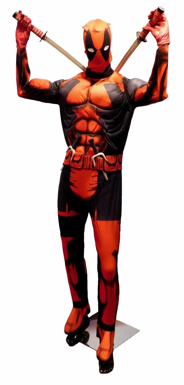 ee54db3d3d766b ... DEADPOOL DeLuxe Muskel Anzug Kostüm 10-tlg.komplett M Erwachsene MARVEL  Fasching