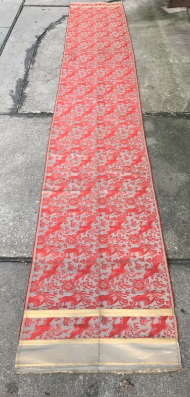Large good condition Chinese textile 2 1/2 ft by 16 1/2 ft  Silk On Silk Phoenix