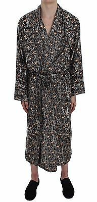 NWT $1200 DOLCE & GABBANA Silk Robe Nightgown Gray Medieval Key Print s. IT4 / S - Medieval Nightgown