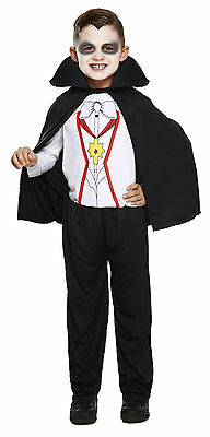 Boys Girls Vampire Dracula Kids Halloween Fancy Dress Costume Outfit Age 3-12 - Vampire Costume For Boys