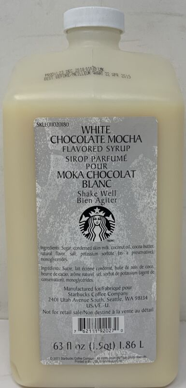 Starbucks White Chocolate Mocha Syrup Sauce 63 oz. Before 11/20