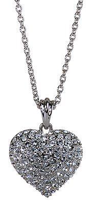 Swarovski Puffed Heart Pendant - Swarovski Elements Crystal Puffed Heart Pendant Necklace Rhodium Authentic 7116y