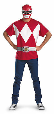 Power Ranger Kostüme Shirt (Red Power Ranger Alternative Adult T-Shirt Costume Superhero Theme Party)