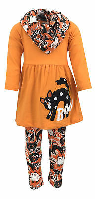 Girls Halloween Black Cat Legging Set Boutique Toddler Kid Clothes Costume 2t 3t (Childrens Black Cat Halloween Costume)