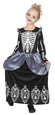 Skeleton Princess Girls Day of the Dead Scary Halloween Fancy Dress Costume