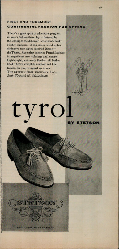 1956 Tyrol By Stetson Shoes Continental Fashion For Spring Vintage Print Ad 2630