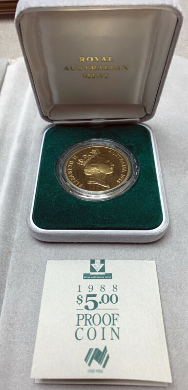1988 Australia $5 Proof Coin W/ box & COA