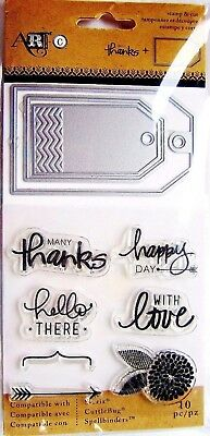 Love Hello Thanks Tags Clear Stamp And Die Set By Momenta Art C 24666 New