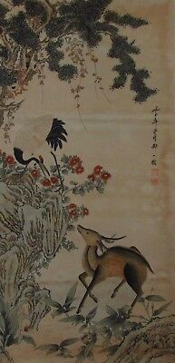 Qing Dynasty 5' Hanging Scroll Crane, Deer, & Pine Trees.  Zou Yigui (1686-1772)