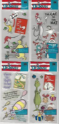 U CHOOSE   Assorted DR. SEUSS 3D Stickers Grinch Cat in the Hat Green Eggs & Ham - Dr Seuss Stickers