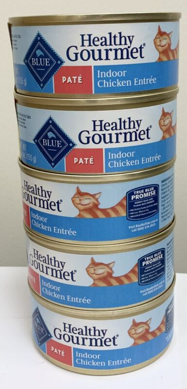 Five 5.5 ounce Cans Blue Buffalo Healthy Gourmet Pate Indoor Chicken Entree