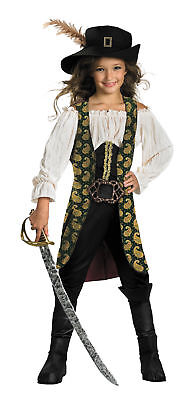 Angelica Deluxe Child Costume Pirates of the Caribbean Girls Pirate Halloween (Pirate Angelica Costume)