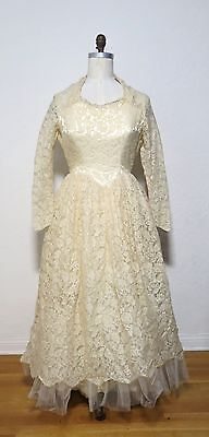 Vintage 1950s Cream Lace Tulle Wedding GOWN Bridal Dress beaded