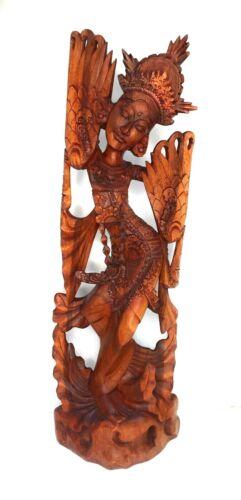 "Large Statue Janger Solid Wood Carved Sculpture 40"" Bali Indonesia Zenda Imports"