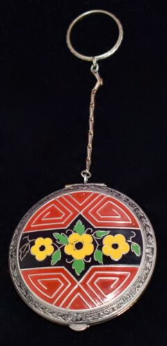 FABULOUS Antique *ART DECO* Floral *HAND PAINTED ENAMEL* Compact w FINGER RING