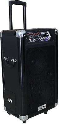 Jetrad Portable PA Active Speaker Sound System with Bluetooth, 12V Rechargeable