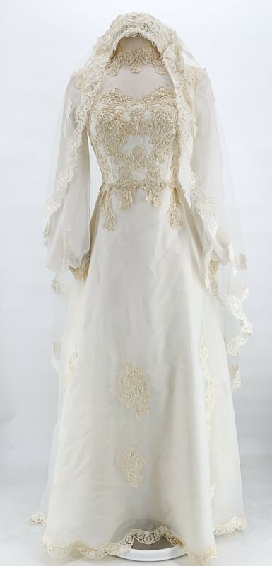 Vtg Womens 1960s Floral Beaded Embroidered High Neck Wedding Dress Veil Buttons