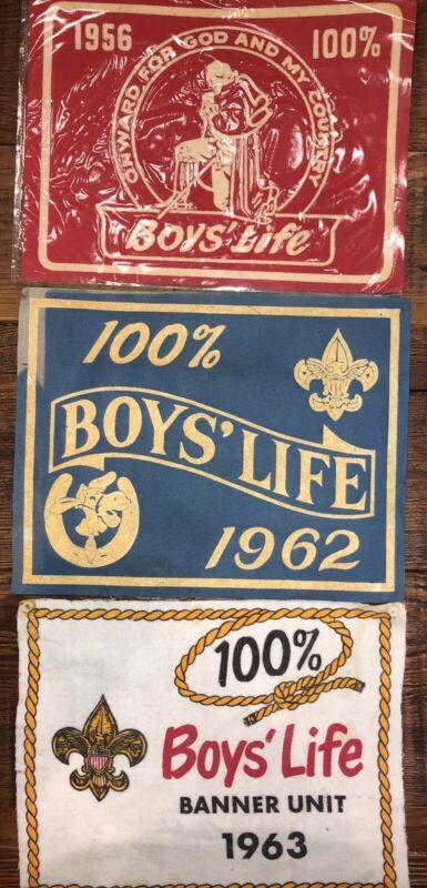 Boys' Life 100% Banners Felt 1956, 1962, 1963