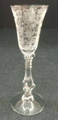Cambridge Crystal Etched Wildflower Pattern Cordial Glass
