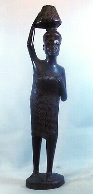 Makonde Hand Carved African woman carrying water on her head 7 inches or 18 cm
