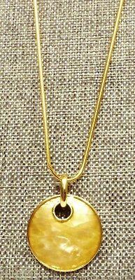 "A56) Lia Sophia Topaz Color Mother of Pearl Crackle Pendant-24"" Gold-tone Chain"