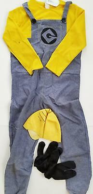 *HALLOWEEN* RUBIES Dave Minion Costume Despicable ME OUtfit Skull Cap Gloves LOT - Halloween Costume Despicable Me