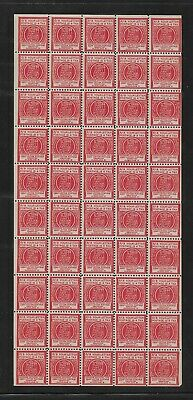 Historical Paper: NOCLPA Label 2/3 Of Your Letter Postage is a Tax; Sheet/50 MNH