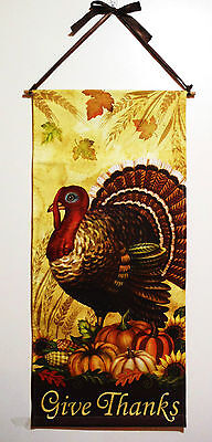 THANKSGIVING FALL BANNER TURKEY w/''GIVE THANKS'' BEAUTIFUL DESIGN 30'' LONG