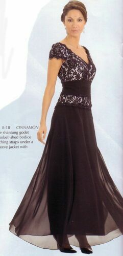 Mother of Bride Dress Formal  A-Line Beaded Lace Chiffon Dark Brown 6P 4P Petite